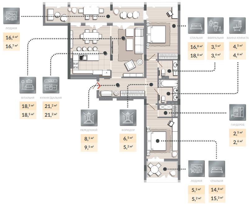 Трёхкомнатная квартира 120,40 кв.м. тип 3К1, квартира №120, дом №2, секция №2, 3 этаж в Жилищном Комплексе Luxberry