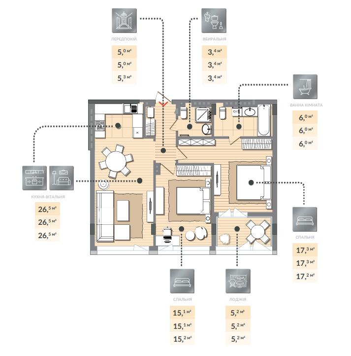 Двухкомнатная квартира 78,30 кв.м, кв. №137, секц. №3