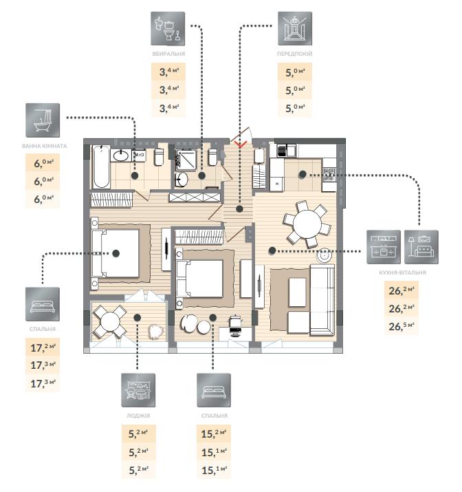 Двухкомнатная квартира 78,50 кв.м, кв. №138, секц. №3