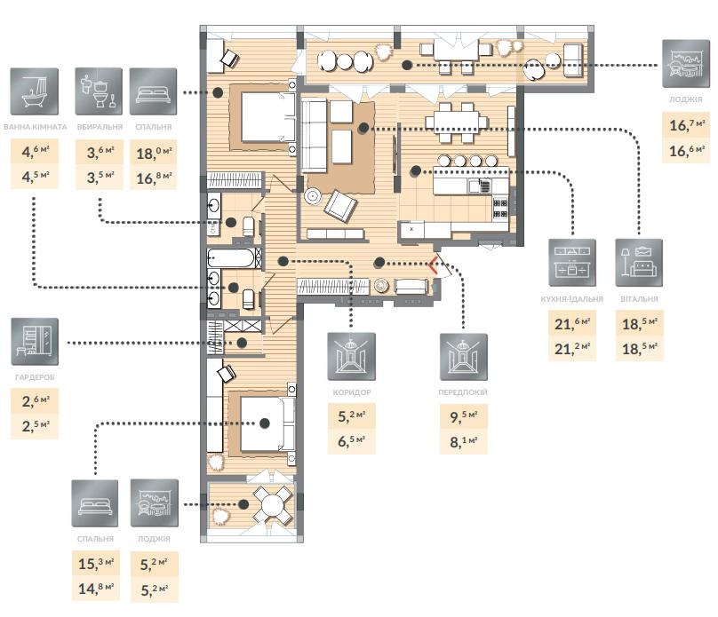 Трёхкомнатная квартира 120,80 кв.м. тип 3К1, квартира №123, дом №2, секция №2, 3 этаж в Жилищном Комплексе Luxberry