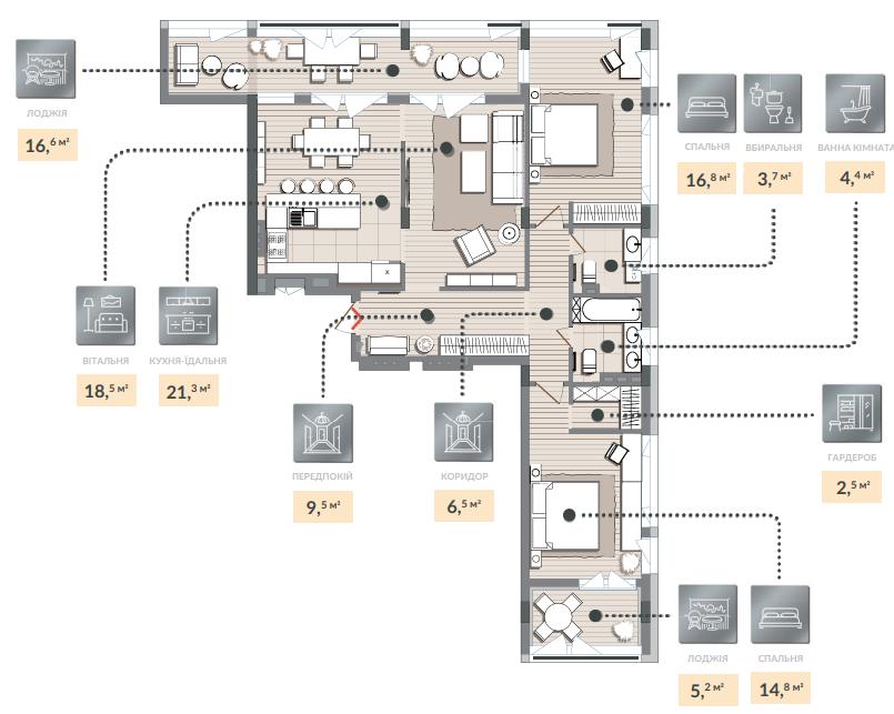 Трёхкомнатная квартира 119,80 кв.м. тип 3К2, квартира №136, дом №2, секция №3, 3 этаж в Жилищном Комплексе Luxberry