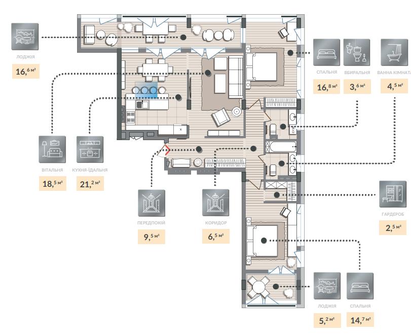 Трёхкомнатная квартира 119,60 кв.м. тип 3К2, квартира №140, дом №2, секция №3, 4 этаж в Жилищном Комплексе Luxberry
