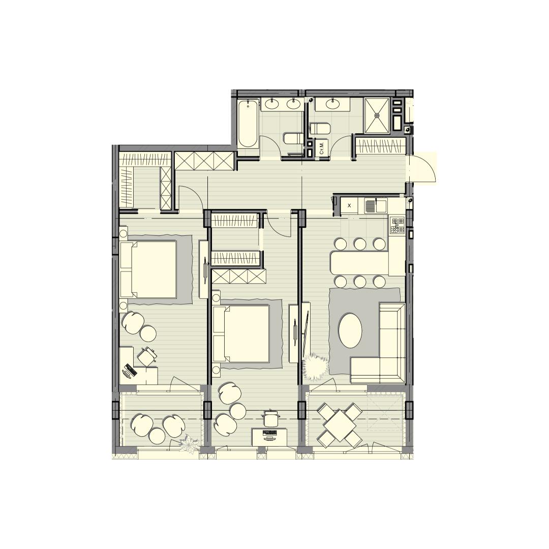 Двухкомнатная квартира 103,00 кв.м, кв. №63, д. №1, секц. №4, 3 эт. в ЖК Luxberry