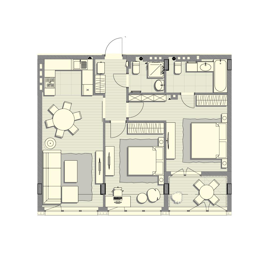Трёхкомнатная квартира 78,50 кв.м, кв. №104, д. №2, секц. №1, 3 эт. в ЖК Luxberry