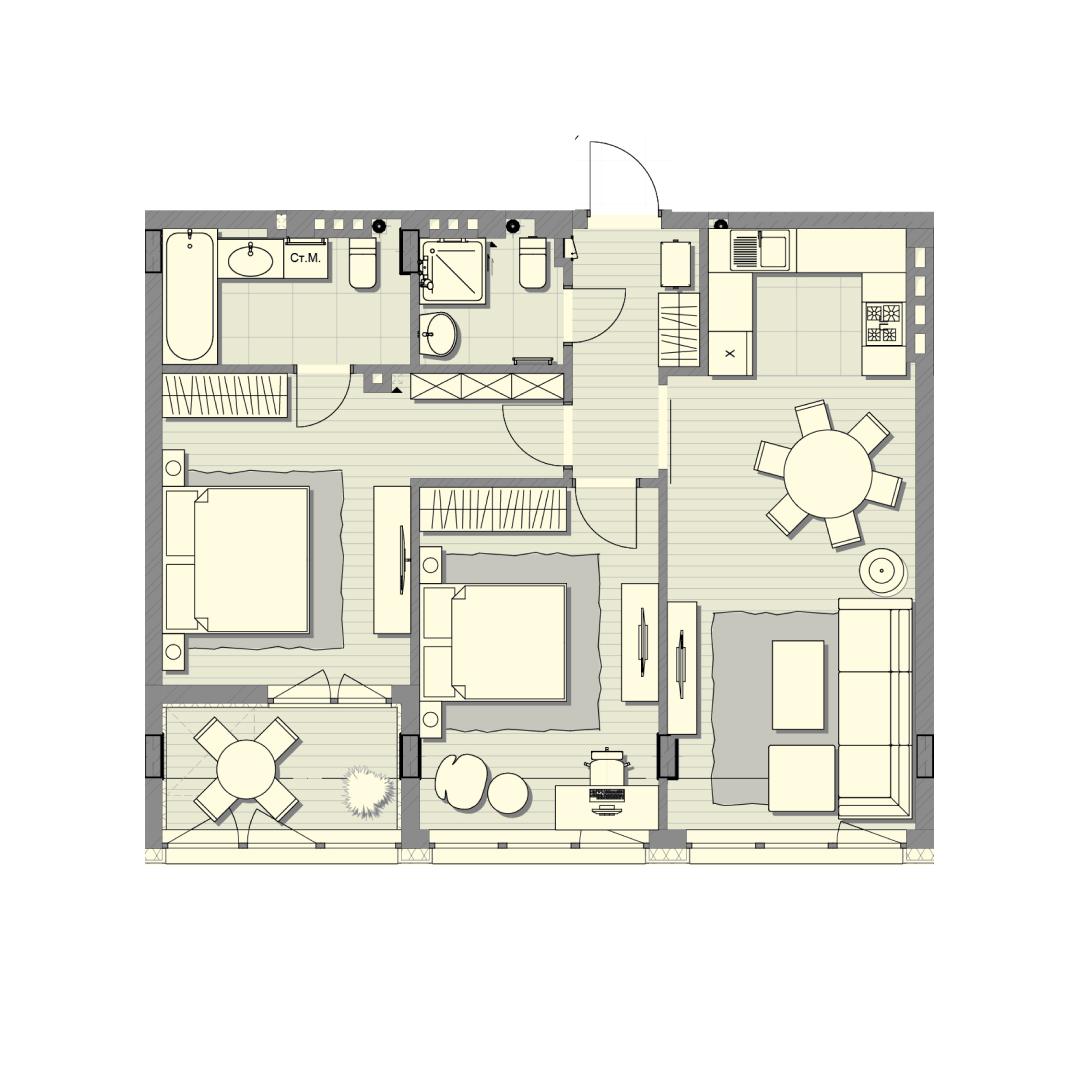 Двухкомнатная квартира 77,70 кв.м, кв. №109, д. №2, секц. №1, 4 эт. в ЖК Luxberry