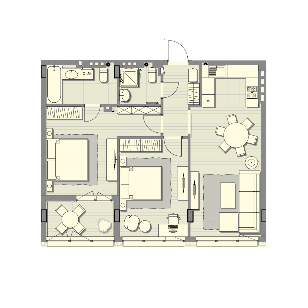 Двокімнатна квартира 78,00 кв.м, кв. №126, буд. №2, секц. №2, 4 пов. в ЖК Luxberry