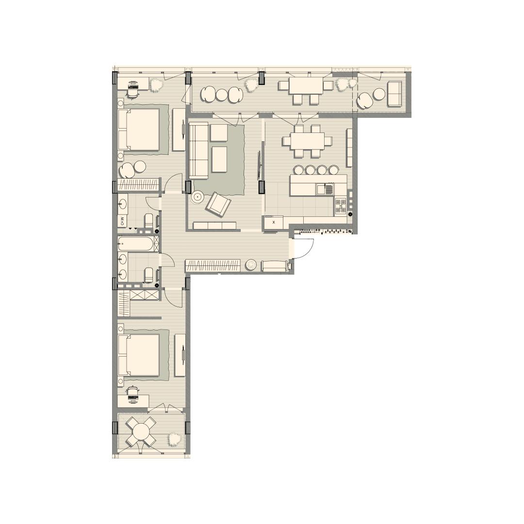 Трикімнатна квартира 118,20 кв.м. тип 3К1, квартира №139, будинок №2, секція №3, 3 поверх в Житловому Комплексі Luxberry
