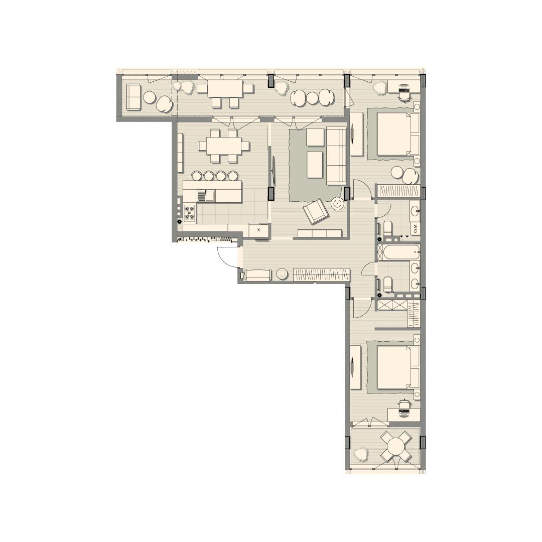 Трёхкомнатная квартира 117,40 кв.м, кв. №107, д. №2, секц. №1, 4 эт. в ЖК Luxberry