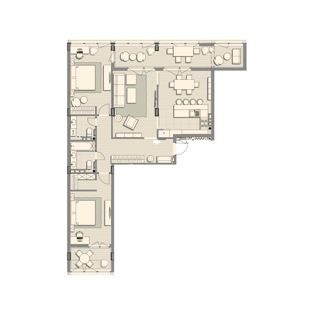 Трикімнатна квартира 120,80 кв.м. тип 3К1, квартира №123, будинок №2, секція №2, 3 поверх в Житловому Комплексі Luxberry