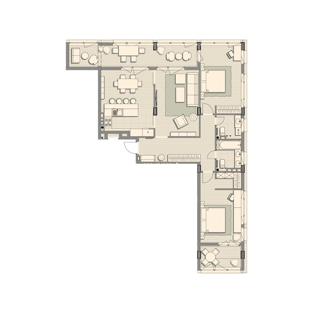 Трикімнатна квартира 119,80 кв.м. тип 3К2, квартира №136, будинок №2, секція №3, 3 поверх в Житловому Комплексі Luxberry