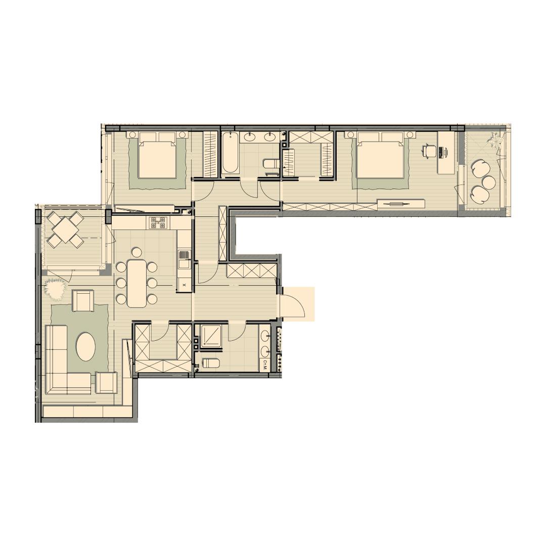 Трёхкомнатная квартира 112,30 кв.м, кв. №64, д. №1, секц. №4, 4 эт. в ЖК Luxberry