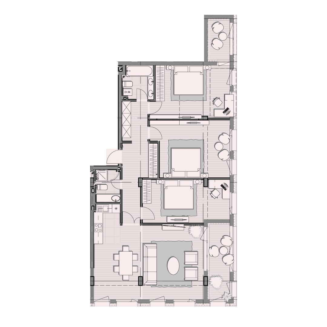 Четырёхкомнатная квартира 127,00 кв.м, кв. №62, д. №1, секц. №4, 3 эт. в ЖК Luxberry
