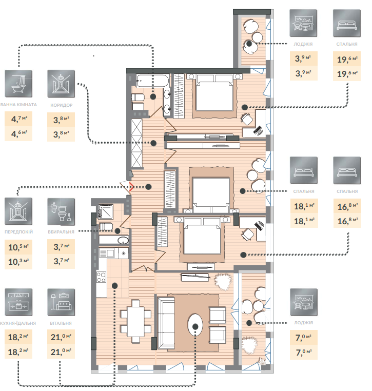 Четырёхкомнатная квартира 127,00 кв.м, кв. №62, секц. №4