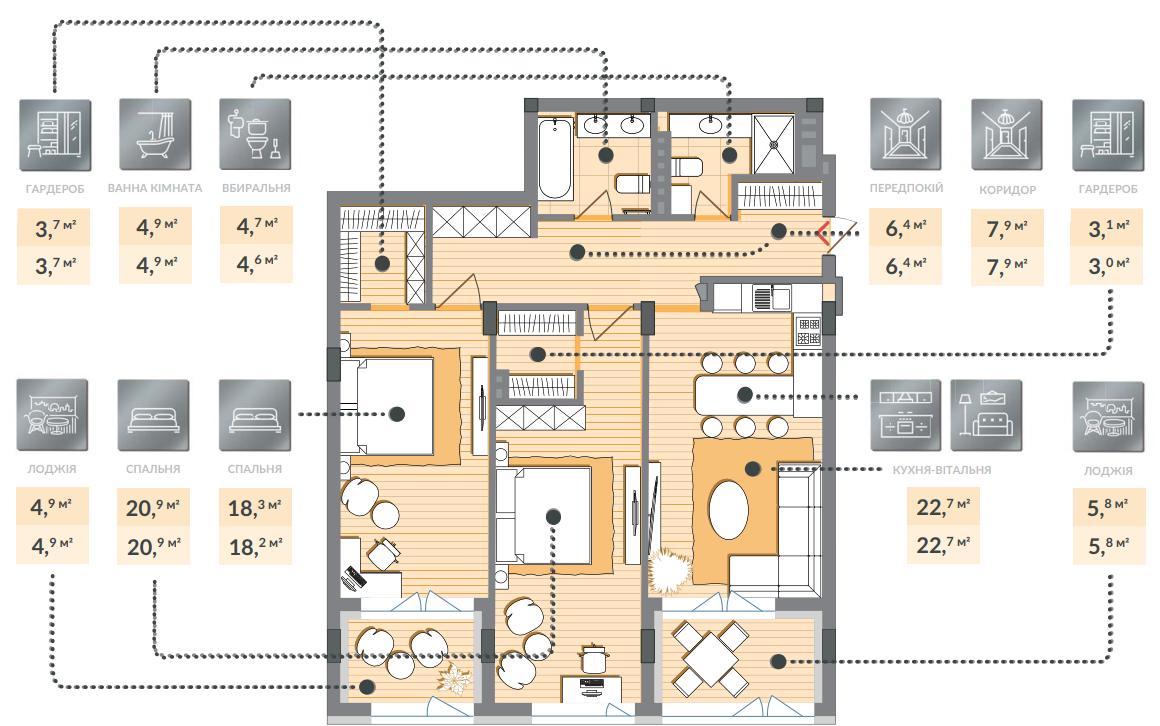 Двухкомнатная квартира 103,00 кв.м, кв. №63, секц. №4