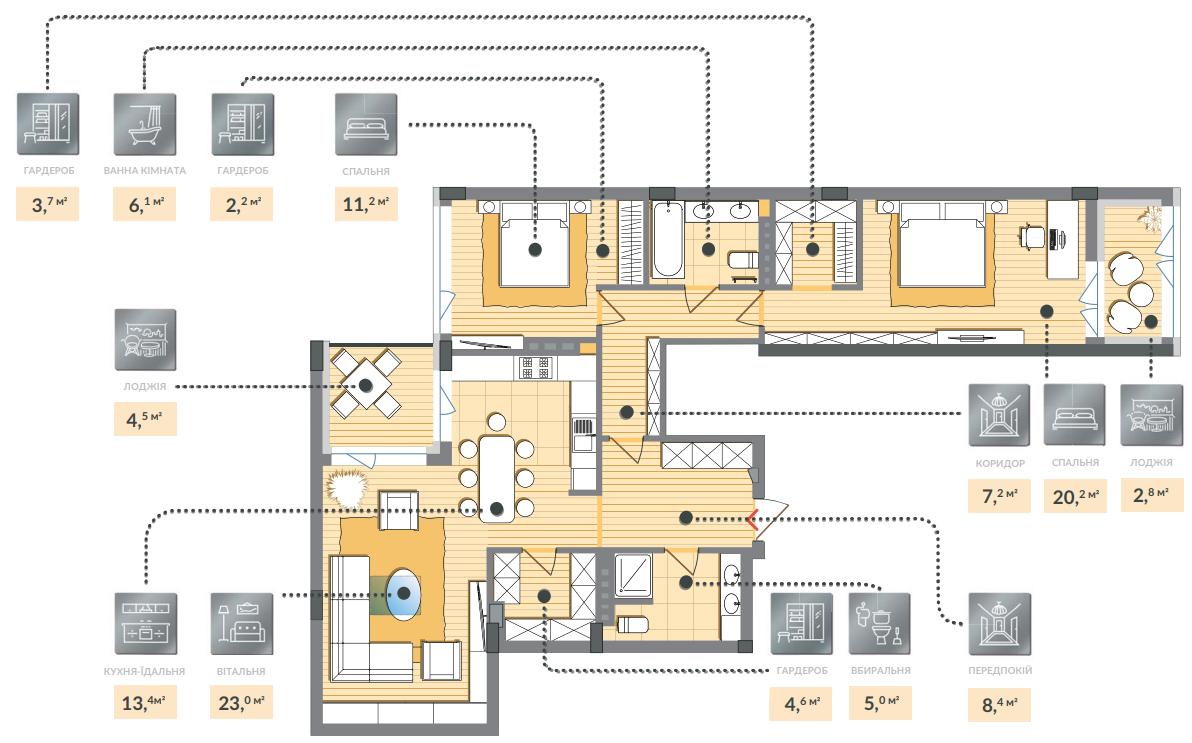 Трёхкомнатная квартира 112,30 кв.м, кв. №64, секц. №4