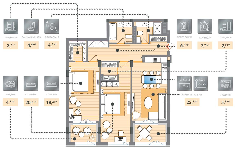 Двухкомнатная квартира 102,80 кв.м, кв. №66, секц. №4