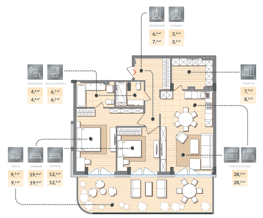 Двухкомнатная квартира 99,60 кв.м, кв. №112, секц. №2